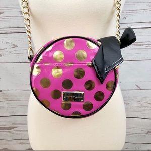 Betsey Johnson Pink Gold Polka Dot Bag